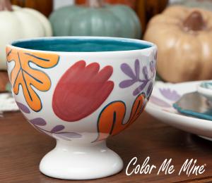 Encino Floral Pedestal Bowl
