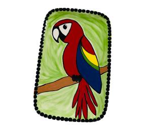 Encino Scarlet Macaw Plate